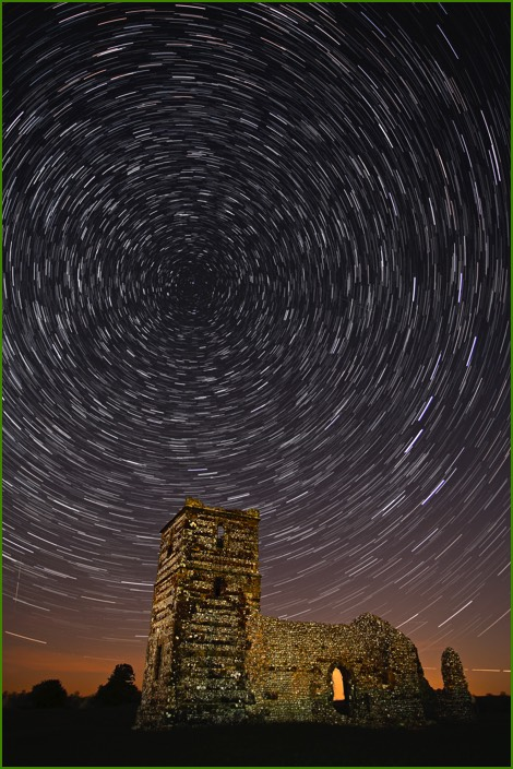 Star-trails Knowlton Church & Earthworks
